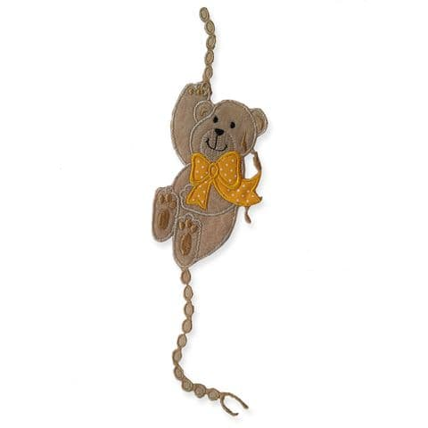 BROWN CLIMBING TEDDY MOTIF IRON ON EMBROIDERED PATCH APPLIQUE