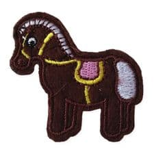 BROWN PONY MOTIF IRON ON EMBROIDERED PATCH APPLIQUE