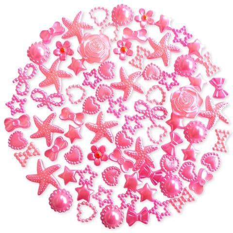CANDY PINK 50pcs Pack Flatback Pearlised Embellishments
