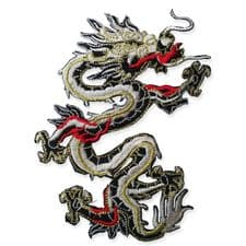 CHINESE DRAGON MOTIF IRON ON EMBROIDERED PATCH APPLIQUE