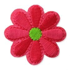 CORAL PINK DAISY MOTIF IRON ON EMBROIDERED PATCH APPLIQUE