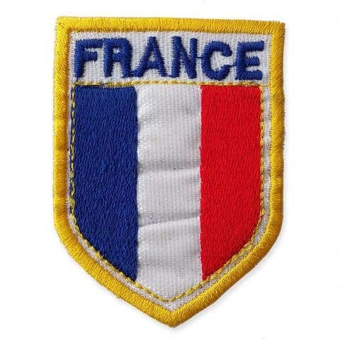 FRENCH SHIELD MOTIF IRON ON EMBROIDERED PATCH APPLIQUE