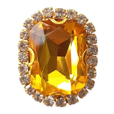 GOLD 18mm x 25mm Glass Emerald Shape Sew on Gem Embellishment