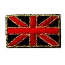 GOLD EDGE UNION JACK MOTIF IRON ON EMBROIDERED PATCH APPLIQUE