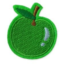 GREEN APPLE MOTIF IRON ON EMBROIDERED PATCH APPLIQUE
