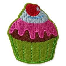 GREEN CUPCAKE MOTIF IRON ON EMBROIDERED PATCH APPLIQUE