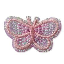 LIGHT PINK BUTTERFLY MOTIF IRON ON EMBROIDERED PATCH APPLIQUE