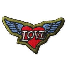 LOVE WINGS MOTIF IRON ON EMBROIDERED PATCH APPLIQUE