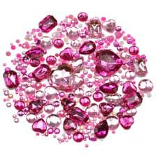 Mixed Pack of PINK Gems and Diamante Embellishments
