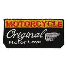 MOTORCYCLE BADGE MOTIF IRON ON EMBROIDERED PATCH APPLIQUE