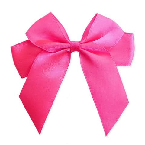 NEON PINK 90mm Large Ribbon Bows (Pack of 6)