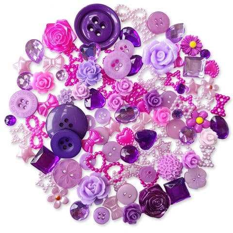 PURPLE 50pcs Assorted Gems, Cabochons, buttons and Pearlised Flatbacks