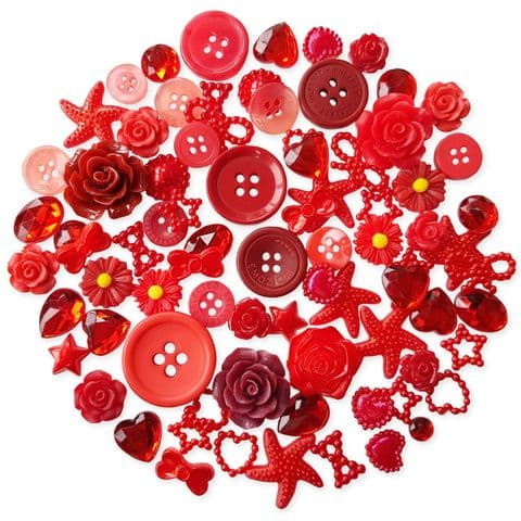 RED 50pcs Assorted Gems, Cabochons, buttons and Pearlised Flatbacks