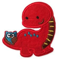 RED DINOSAUR MOTIF IRON ON EMBROIDERED PATCH APPLIQUE