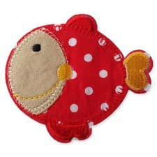 RED DOTTY FISH MOTIF IRON ON EMBROIDERED PATCH APPLIQUE