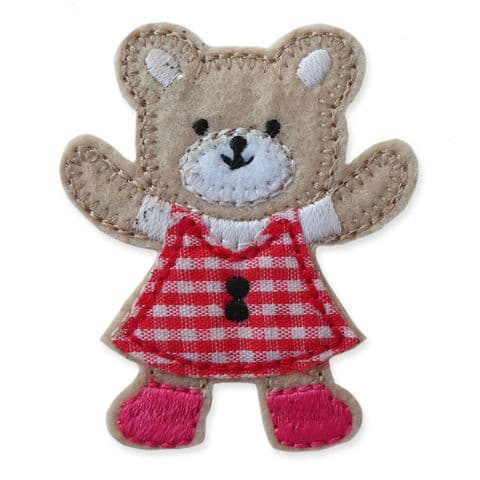 RED GINGHAM TEDDY MOTIF IRON ON EMBROIDERED PATCH APPLIQUE
