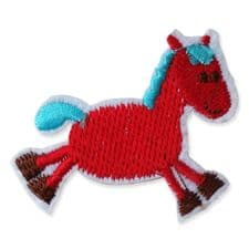 RED HORSE MOTIF IRON ON EMBROIDERED PATCH APPLIQUE