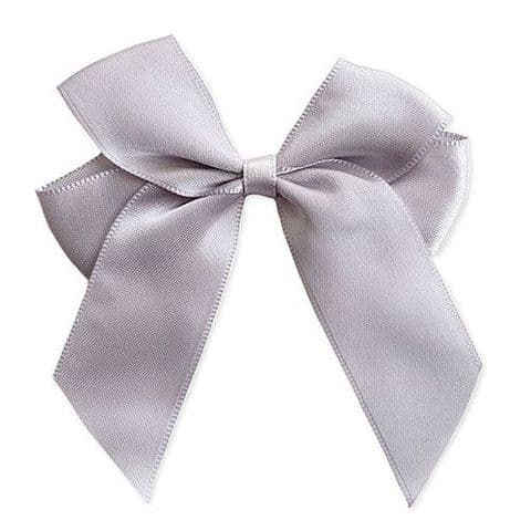 SILVER 90mm Large Ribbon Bows  (Pack of 6)