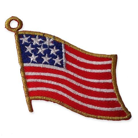WAVY AMERICAN FLAG MOTIF IRON ON EMBROIDERED PATCH APPLIQUE