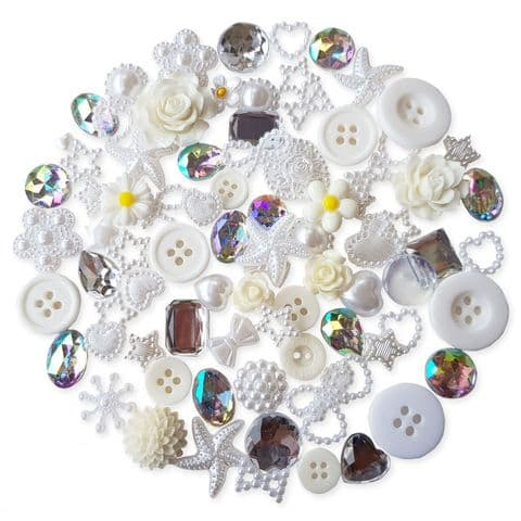 WHITE 50pcs Assorted Gems, Cabochons, buttons and Pearlised Flatbacks