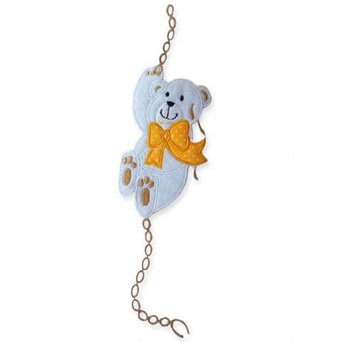 WHITE CLIMBING TEDDY MOTIF IRON ON EMBROIDERED PATCH APPLIQUE