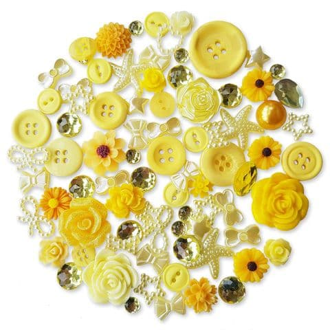 YELLOW 50pcs Assorted Gems, Cabochons, buttons and Pearlised Flatbacks (9)