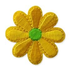 YELLOW DAISY MOTIF IRON ON EMBROIDERED PATCH APPLIQUE