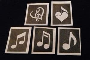 10 - 100 x Music note theme stencils for etching on glass   hobby  / craft / music note  5 designs