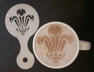 2 x  Welsh Three Feathers coffee / cappuccino stencils    reusable