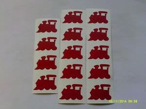 30 x red train stickers for children