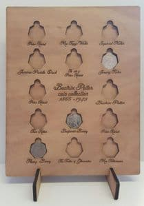 Beatrix Potter 50 pence coin chart wood bespoke collectors gift on stand