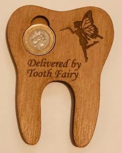 Bespoke 6mm wood tooth shaped Tooth Fairy coin holder Choose £1 or £4 or £5