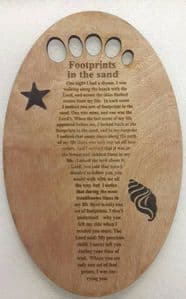 Bespoke wood Footprints Christian poem within footprint with ingrained shells and stars