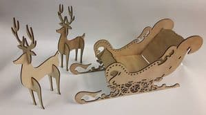 Bespoke wood Santa's sleigh & reindeer  Ready to assembly and decorate
