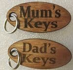 Mum & Dad's keys wood key ring gift Mothers Day