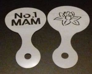 No. 1 Mam & daffodil flower coffee / cappuccino stencils    reusable