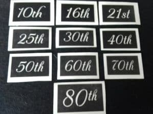 Small Anniversary & Birthday numbers (mixed) for etching  16th  18th  21st  30th  40th  50th  1.2