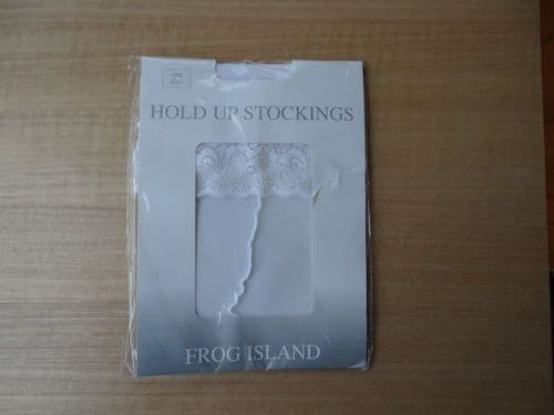 """""""FROG ISLAND"""" LACE TOP SEAMED HOLD UP STOCKINGS  SIZE:- ONE SIZE D64"""