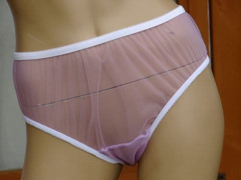 EXQUISITE HANDMADE ULTRA SEE THRU NYLON BIKINI KNICKERS - SIZE-S/M/L/XL USA-5/6/7/8