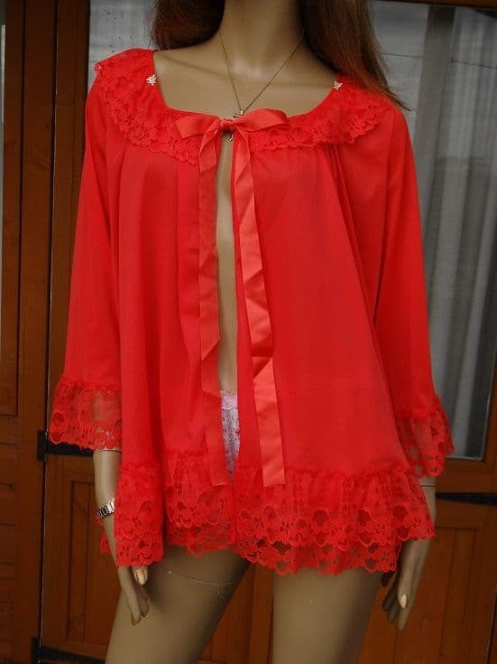 GENUINE VINTAGE 1960's SILKY NYLON BED JACKET - SIZE:-WX  #309