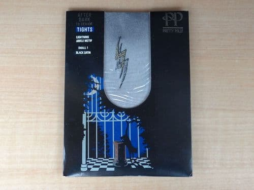 """VINTAGE PRETTY POLLY 10 DENIER ULTRA SHEER WITH LIGHTNING ANKLE MOTIF """"AFTER DARK"""" TIGHTS  SIZE1 D87"""
