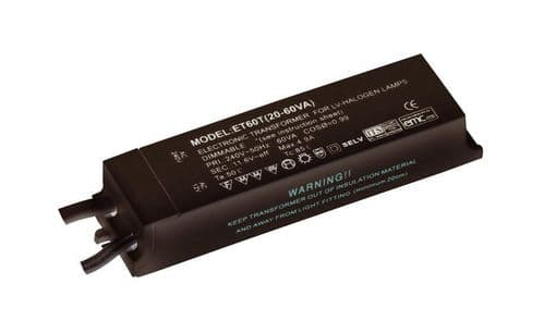 12V Transformer Dimmable 60W Black Plastic Saxby ET60R