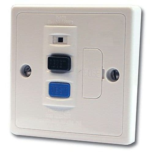13A Plastic RCD Single fused Spur connection unit  CE Approved BS7288 white