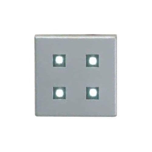 Additional / Replacement Square 4 LED Plinth White or Blue Silver ELD PL1SQW /B