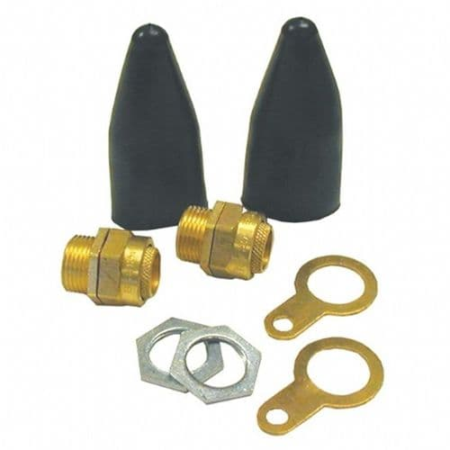 ARMOURED CABLE GLANDS 2 pack BW20K C/W LOCKNUTS SHROUDS AND EARTH TAGS