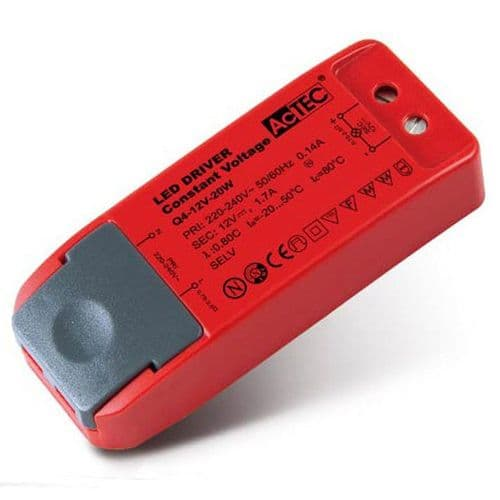 LED Driver Constant Voltage 20W 12V Red Plastic Saxby 47989