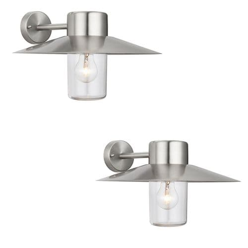 PAIR SAXBY 60797 FENWICK Stainless Steel Dimmable 40W IP44 Outdoor Wall Light