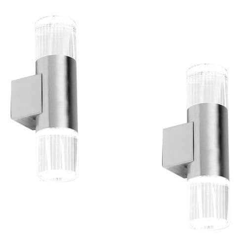 PAIR SAXBY YG-7501 GRANT Twin Stainless Steel Up/Down LED Outdoor Wall Light