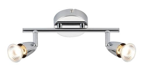 Saxby 43278 AMALFI Chrome Twin Halogen Spot Ceiling Light/Dimmable/Adjustable