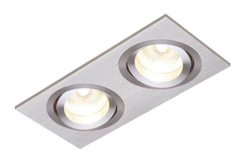 Saxby 52404 TETRA Twin Brushed Silver Adjustable/Dimmable Sleek Downlight 50W